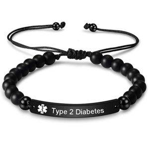 Natural Stone Beaded Medical Alert ID Bracelet